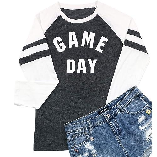 a9a43a45b336 Women's Game Day Letters Print Raglan Baseball T-Shirt Long Sleeve Splicing  Top Tees