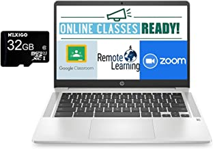 2021 Newest HP Chromebook 14 Inch FHD 1080P Laptop with Webcam, Intel Celeron N4000 up to 2.6 GHz, 4GB RAM, 64GB eMMC, Web...