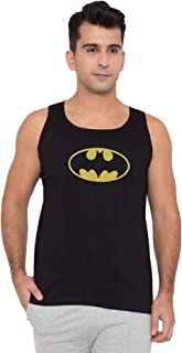 American-Elm Men Black Cotton Sleeveless Batman Logo Printed Vests