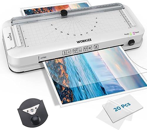Laminator Machine with Laminating Sheets, WORKIZE Thermal Laminator, Personal 5-in-1 Desktop A4 Laminating Machine Bu...