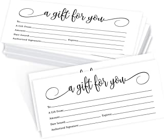 25 4x9 White Blank Gift Certificate Cards Vouchers For Holiday, Christmas, Birthday Holder, Small Business, Restaurant, Sp...