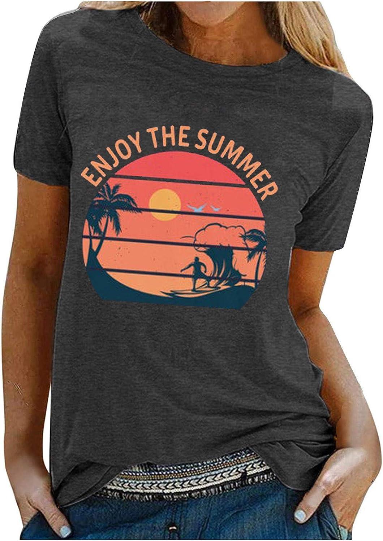 Women T-Shirt Rainbow Beach Printed T-Shirt Summer Short Sleeve Blouse Tops