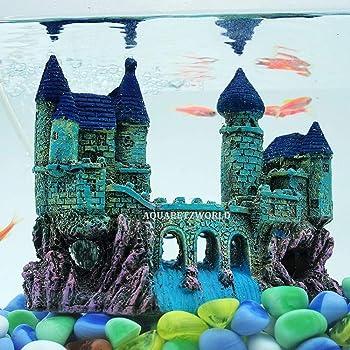 AQUAPETZWORLD Beautiful Aquarium Decoration Ornament Ancient Small Castle Resin Background for Small Fish Tank Aquarium Accessories Live Fish Hide House(16 x 6.5 x 13 cm)