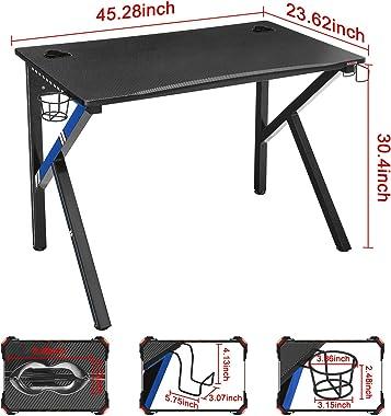 "Mr IRONSTONE Gaming Desk 45.2"" W x 23.6"" D Home Office Computer Desk, Gamer Workstation with Socket of 3-Outlet &"