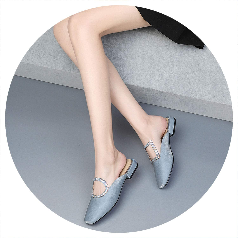 New Summer Low Heels Genuine Leather Slippers Women Sandals Ladies Flat Toe Ladies Slipper