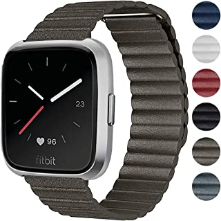 Shangpule Compatible Fitbit Versa Bands Women Man, Genuine Leather Loop with Unique Magnetic Strap Replacement Wristbands Accessories Compatible Fitbit Versa Fitness Smart Watch