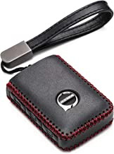 Vitodeco Genuine Leather Smart Key Fob Case Cover Protector with Leather Key Chain for 2019 Volvo XC60, XC90, S90, V90, 2020 Volvo XC40 (4-Button, Black/Red)