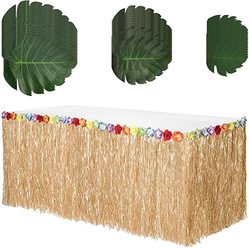 Hawaiian Table Skirt Grass Skirt Table Cloth Grass Skirt For Table And 36 Pcs Tropical Green Leaves For Hawaiian Party Decorations Supplies Moana Tropical Birthday Party Beach Luau Party