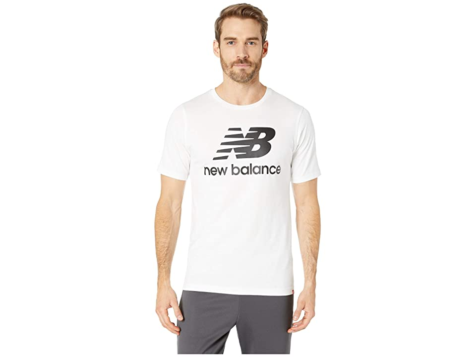 New Balance Essentials Stacked Logo Tee (White) Men