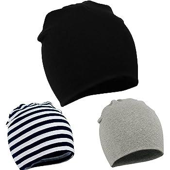 Zando Baby Kids Cotton Knit Beanie Hat for Baby Boys Newborn Lovely Cap Toddler Infant Soft Cute Hat Cap Black & Black White & Light Grey 12-48 Months
