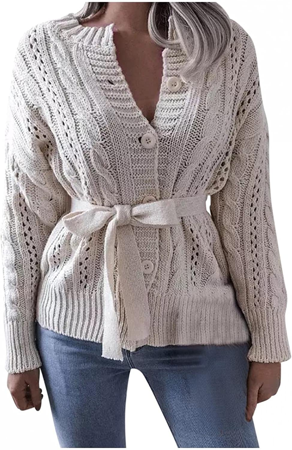 Cardigan Sweaters for Women, Solid Color Long Sleeved Outerwear with Waist Buckle, Loose Waffle Knit Drape Coat
