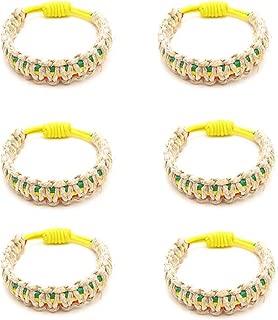 Frogsac 6 Pcs Rasta Hemp Braid Stretch Cord Bracelets - Great Party Favors