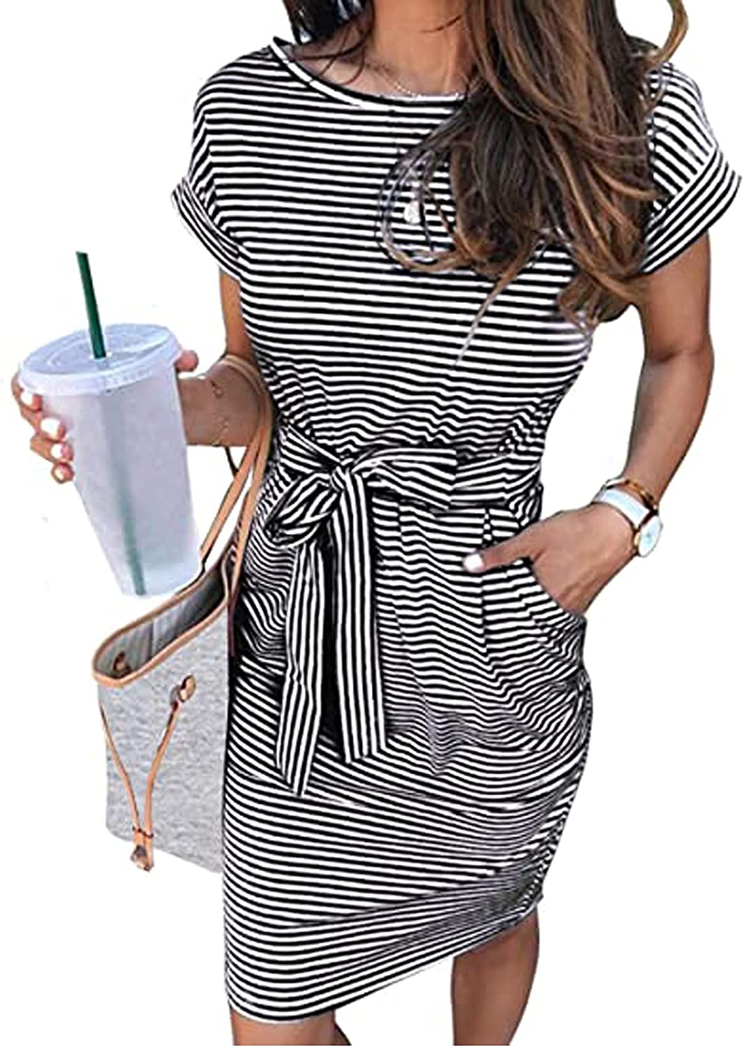 Happy Sailed Womens Striped Short Sleeve Bodycon Casual Pencil Elegant Dress with Belt S-XL