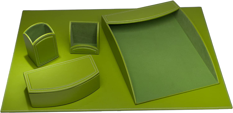 Dacasso 5-Piece Leatherette Desk Set, Lime Green