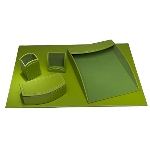 Superbe Dacasso 5 Piece Faux Leather Desk Set, Lime Green