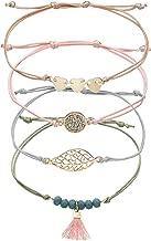 Friendship Bracelet Female 4PCS metal leaf peach heart crystal beaded wax line Woven Hand string Set