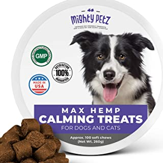 MAX Calming Treats for Dogs – with Hemp Oil & Melatonin. Pet Anxiety & Stress Relief Chews + Thiamine & Chamomile. Behavioral Aid Bites for Composure, Separation, Chewing, Barking, Thunder Storms