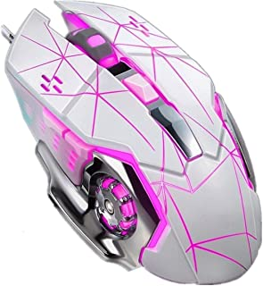 Chaonong Wired USB mouse wired mouse computer mouse can be programmed macro pink usb consumer notebook gaming mouse (Color...