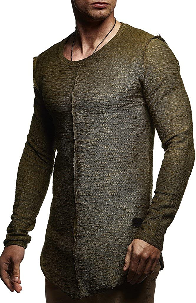 LEIF NELSON Men's 5☆大好評 Stylish Sweater F Sweatshirt 希望者のみラッピング無料 Modern Longsleeve