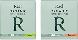 Rael Organic Cotton Sanitary Pads - Certified Organic Cotton Large Pads 1 Pack and Overnight Pads 1 Pack
