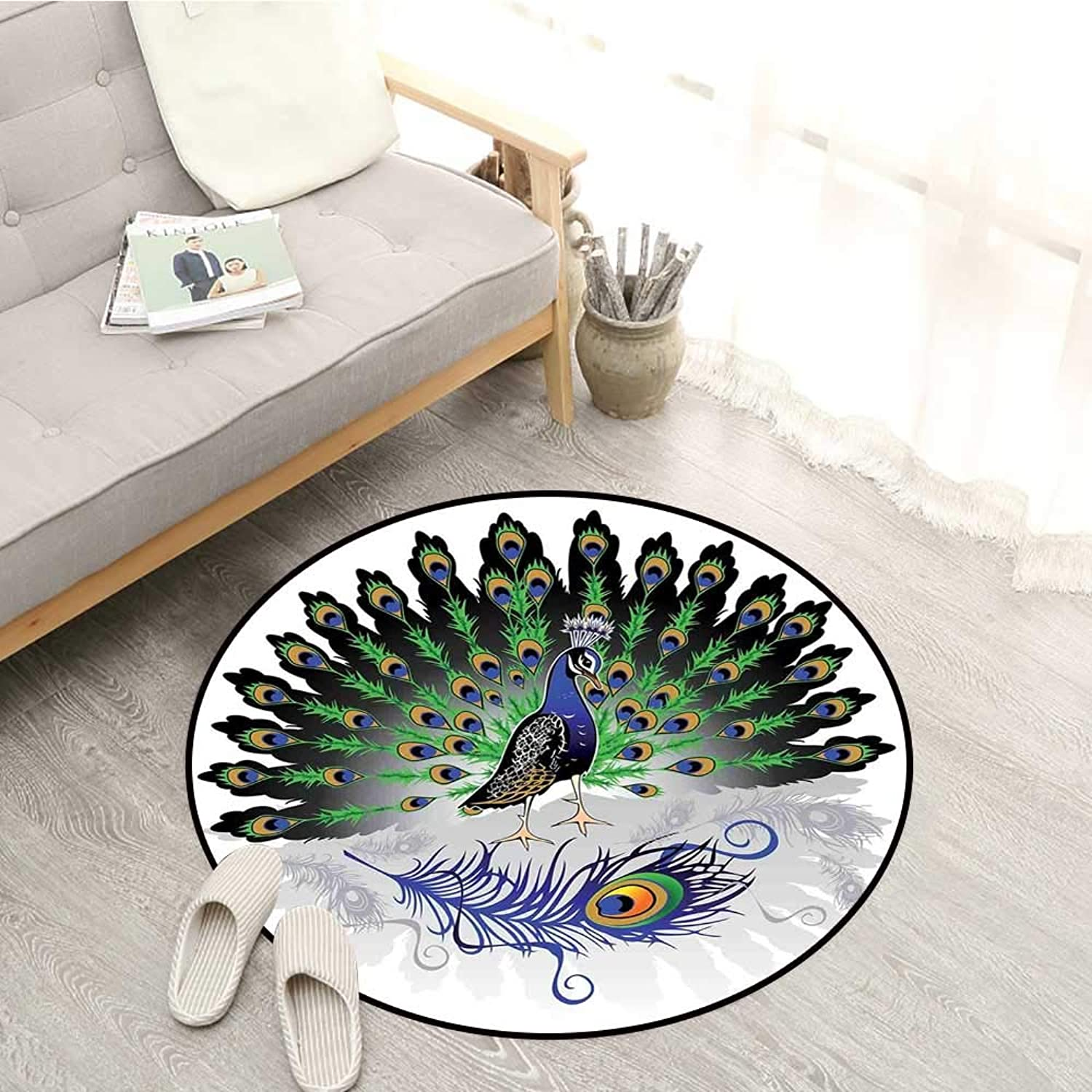Peacock Decor Skid-Resistant Rugs Male Peacock with Open Tail Reflection Illustration Crowned Majestic Bird Tropics Sofa Coffee Table Mat 4'3