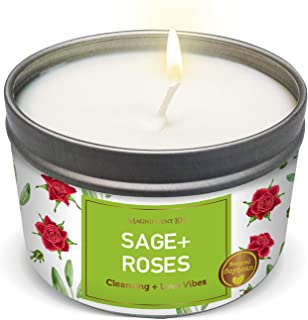 SAGE + Roses Aromatherapy Candle for House Energy Cleansing, Banishes Negative Energy I Purification and Chakra Healing - ...