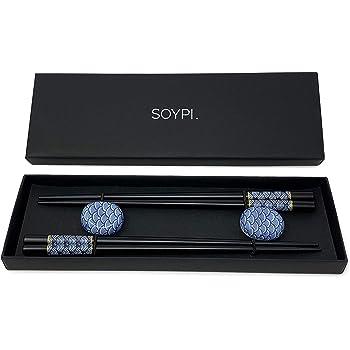 2 Paar handgemachte Sushi Stäbchen -ESS Stäbchen japanisch - Sushi Geschirr -Essstäbchen Holz schwarz und elegant (Holz)