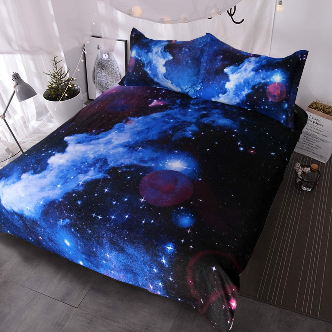 Blessliving Online limited product Blue and Purple Nebula Bedding C 25% OFF Galaxy 3D Set Duvet