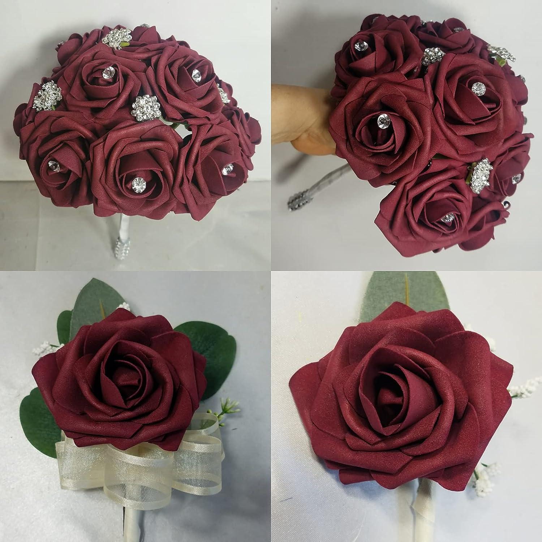 Burgundy Rose Faux Foam Popular standard Brooch Excellent Bridal Wedding Accessorie Bouquet