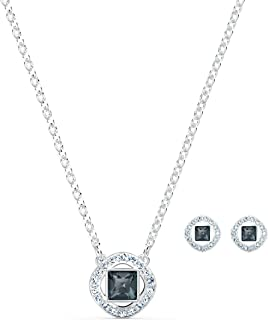 Angelic Square Necklace and Pierced Earrings Jewelry Set,...