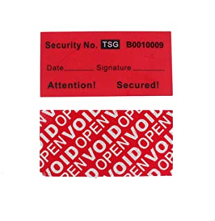 100pcs 100% Total Transfer Tamper Proof Security Warranty Void Labels/Stickers/Seals (Red, 1 x 2 Inches, Unique Numbers - TamperSeals)