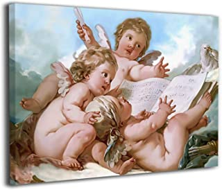 絵画 油絵 30x40cm かわいい天使たち Angels ポスター おしゃれ インテリア 壁アート ウッドフレーム 装飾 おしゃれ お風呂の装飾 キャンバスアート アート油画 パネル ャンバス Framed Painting