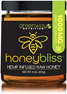 Honeybliss – Raw Clover Honey with 1000mg Hemp Extract - 9oz Glass Jar | 100% Pure, Unfiltered Raw Honey Infused with Organic Hemp Oil Extract | Stress, Anxiety, Pain Relief, Sleep