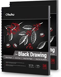 """Black Sketch Pad, 9.7""""x12"""" Ohuhu 2 Pack 120 LB/200 GSM Black Drawing Papers, 38 Sheets/76 Pages, Spiral-Bound Heavyweight ..."""