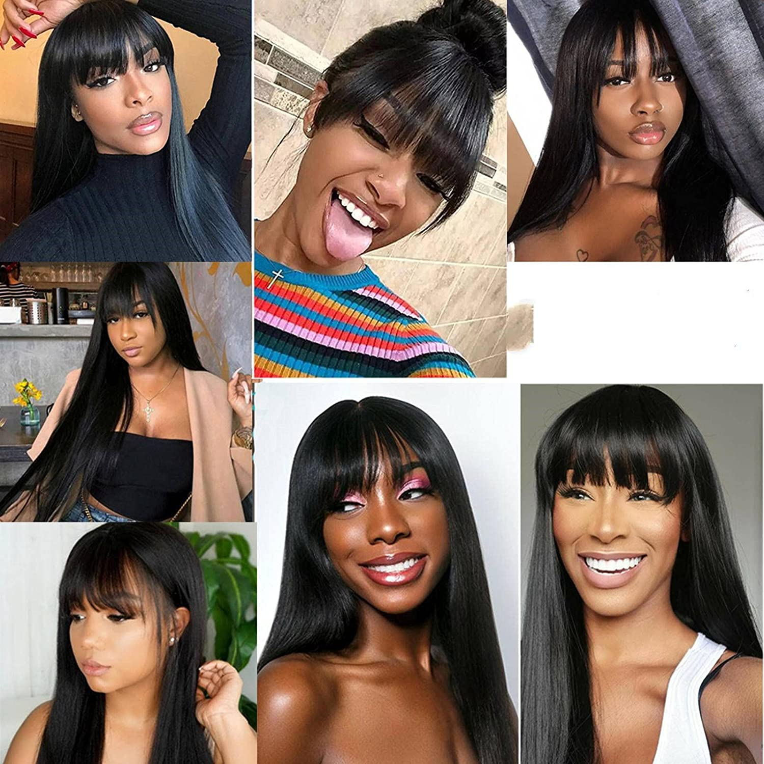 N\C Brazilian Los Angeles Mall Straight Human Hair Wigs Full 55% OFF Bangs with Mach Remy