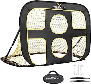 PodiuMax portería de fútbol, portátil 2 en 1 Pop Up niños Fútbol meta red con bolsa de transporte, negro/amarillo