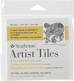 Strathmore 105-970 300 Series Bristol Artist Tiles, Vellum, 4 x 4 Inches, White, 20 Sheets