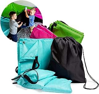 JumpOff Jo Build Me Blanket Fort - Blanket Fort Kit for Kids Ages 3+ - 3 Blankets, Configurable Design, Multiple Colors, Lightweight, Includes Drawstring Backpack