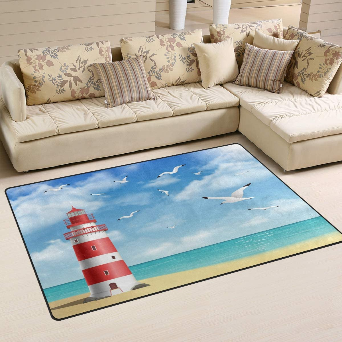 Linomo Area Rug Summer Sea Lighthouse Seagull Floor Rugs Doormat Living Room Home Decor Carpets Area Mats For Kids Boys Girls Bedroom 60 X 39 Inches Amazon Ca Home Kitchen