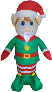 4 Foot Tall Lighted Christmas Inflatable Elf LED Yard Art Decoration