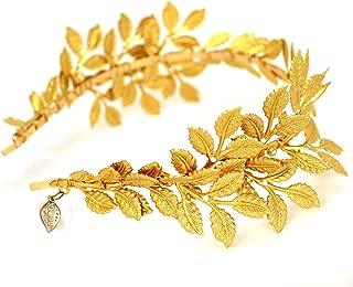 OUMOU Greek Roman Goddess Gold Leaf Crown Headpiece – Bridal Wedding Headband