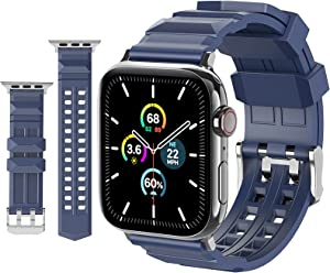 Sport Band for Apple Watch 45mm 44mm 42mm, Man Breathable Strap Soft Silicone Band Replacement for iWatch Series 7 6 5 4 3 2 1 SE (Midnight Blue, 42mm/44mm/45mm)
