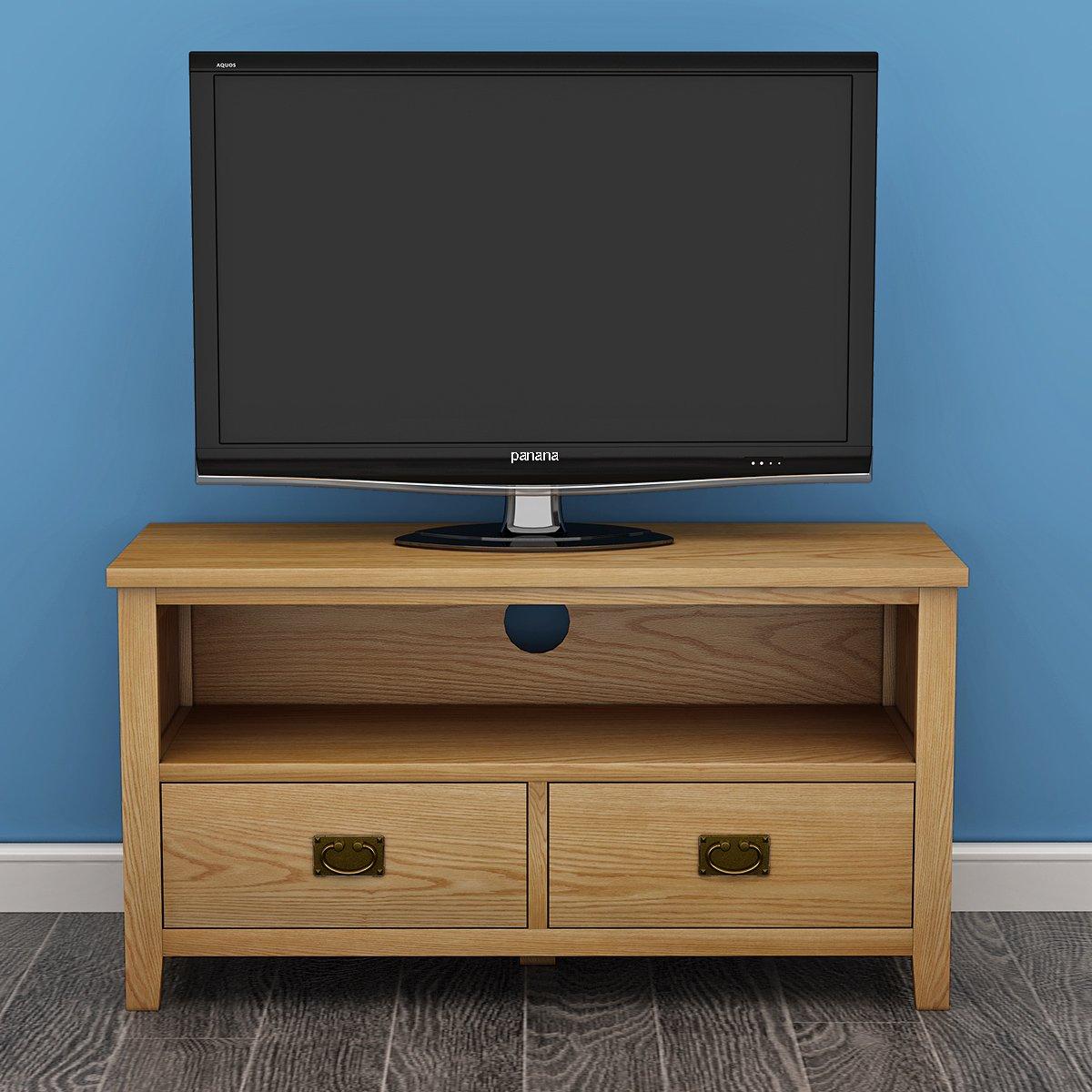 Keinode Mueble de TV Moderno de Roble Macizo con 2 cajones, 1 Estante, Mueble de Almacenamiento para Sala de Estar o Dormitorio Type C (Antique Ring Handle): Amazon.es: Electrónica