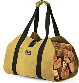 Both INNO STAGE 16oz Waxed Canvas Firewood Log Carrier with Double Straps for