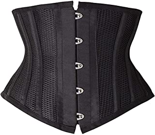 SHAPERX Women Petite Steel Boned Waist Trainer Underbust Corset Short Torso Mesh Body Shaper,SZ1995-Black-2XL