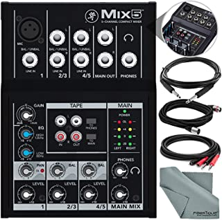 Mackie Mix Series Mix5 5-Channel Compact Mixer and Accessory Bundle w/Cables + Fibertique Cloth