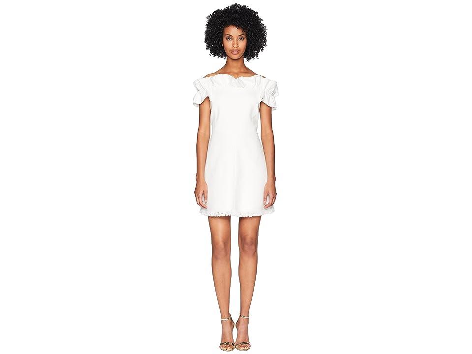 Rebecca Taylor Off Shoulder Slub Suit Dress (Snow) Women