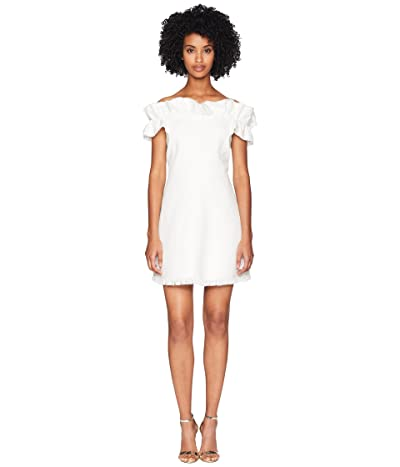 Rebecca Taylor Off Shoulder Slub Suit Dress (Snow) Women