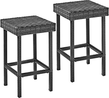 Crosley Furniture CO7107-WG Palm Harbor Outdoor Wicker 24-inch Counter Height Stools, Set of 2, Weathered Gray