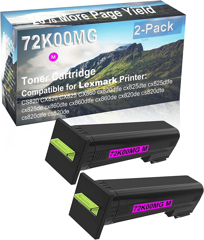 2-Pack (Magenta) Compatible cx825dte, cx825dtfe, cx825de, cx860dte, cx860dtfe Printer Toner Cartridge High Capacity Replacement for Lexmark 72K00MG Toner Cartridge